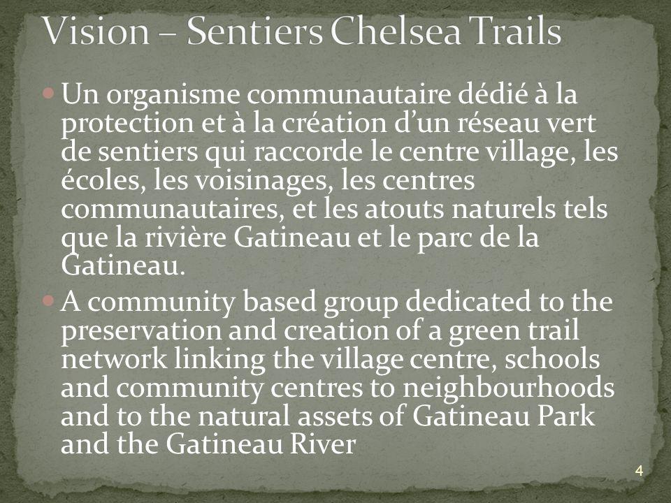 Un organisme communautaire dédié à la protection et à la création dun réseau vert de sentiers qui raccorde le centre village, les écoles, les voisinages, les centres communautaires, et les atouts naturels tels que la rivière Gatineau et le parc de la Gatineau.