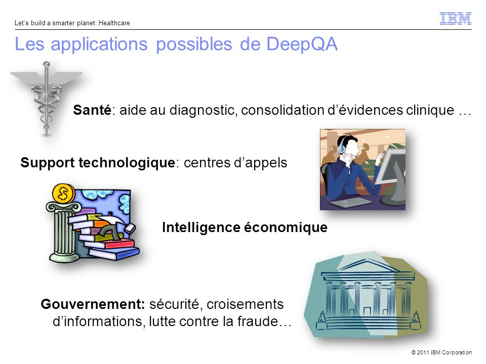 © 2011 IBM Corporation Lets build a smarter planet: Healthcare Les applications possibles de DeepQA Support technologique: centres dappels Santé: aide