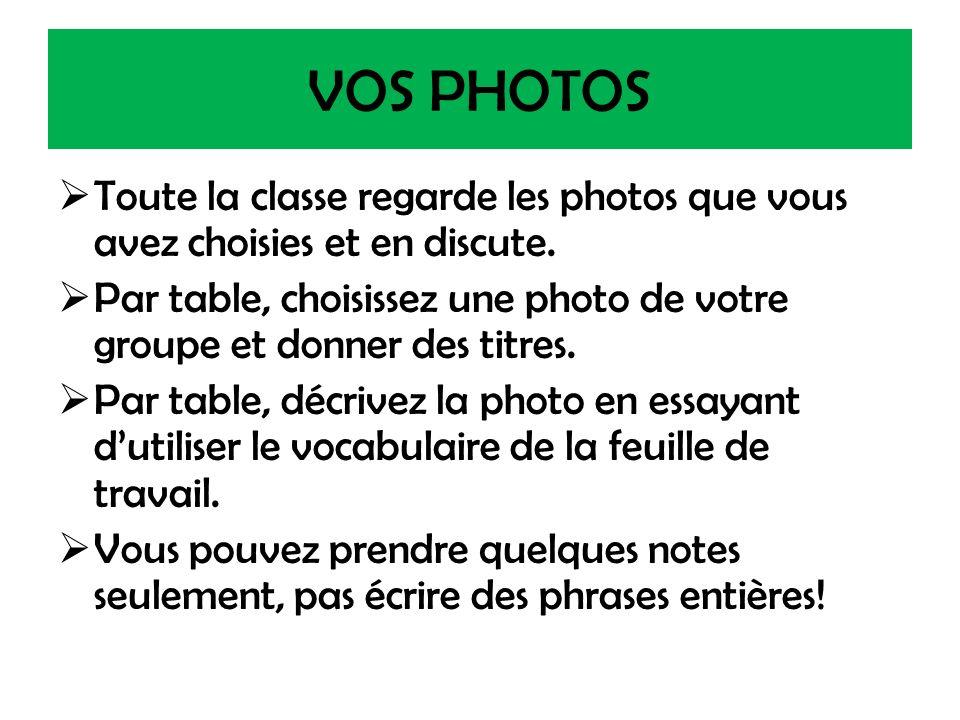VOS PHOTOS Toute la classe regarde les photos que vous avez choisies et en discute.