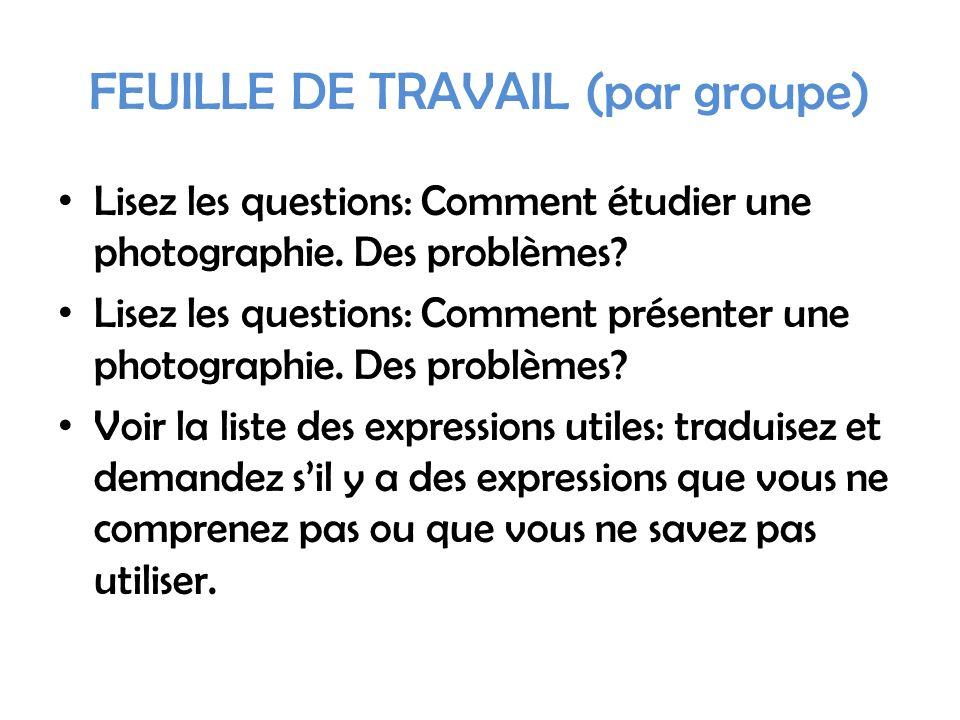 FEUILLE DE TRAVAIL (par groupe) Lisez les questions: Comment étudier une photographie.