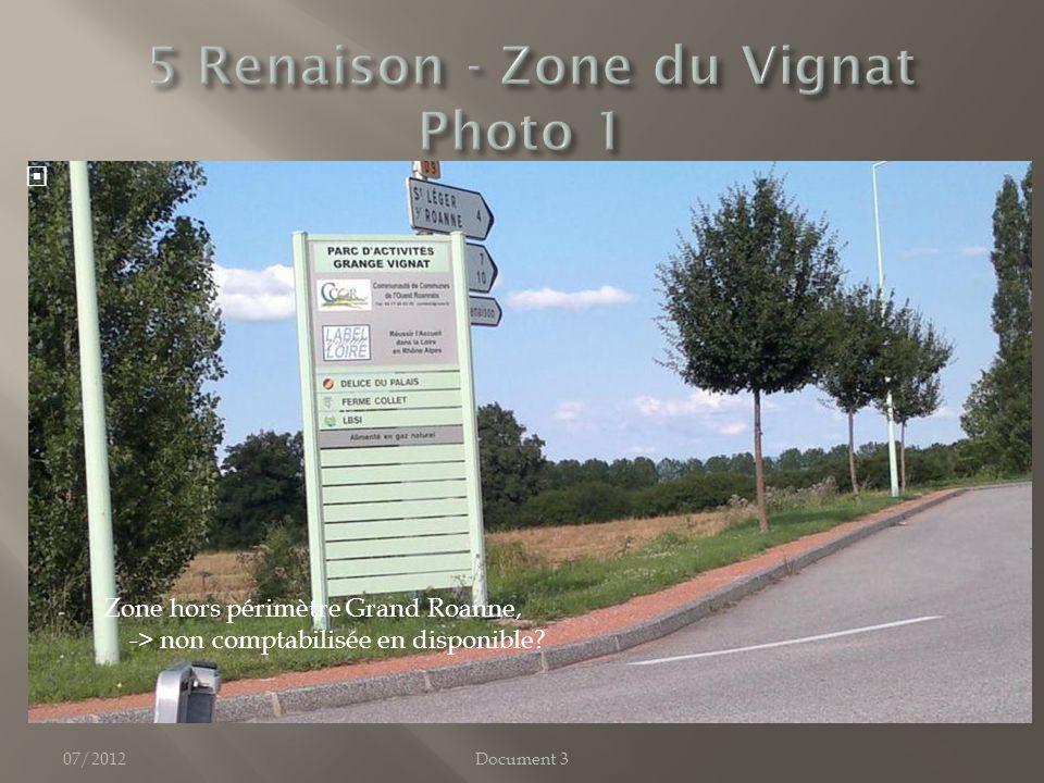 07/2012Document 3 Zone hors périmètre Grand Roanne, -> non comptabilisée en disponible