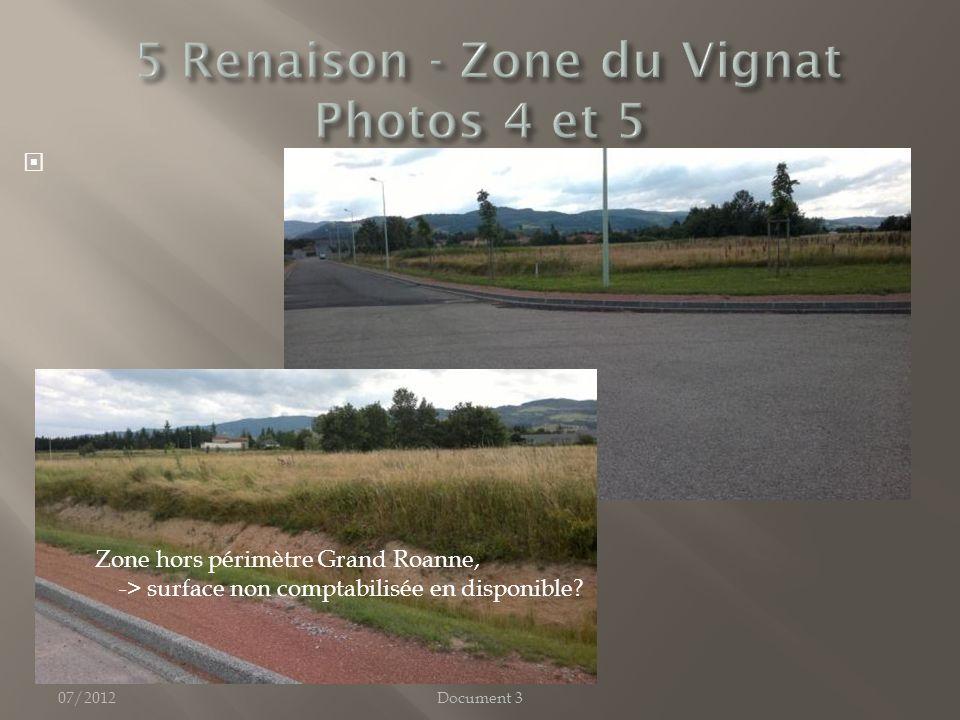 07/2012Document 3 Zone hors périmètre Grand Roanne, -> surface non comptabilisée en disponible
