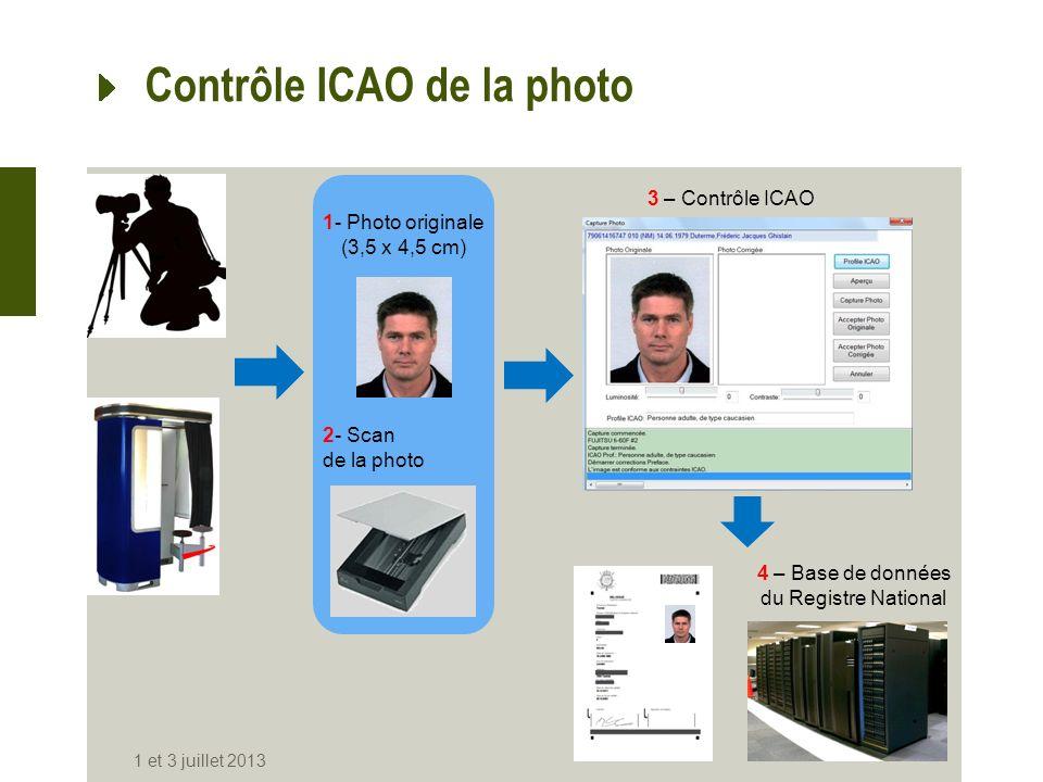 Contrôle ICAO de la photo 1 et 3 juillet 2013 1- Photo originale (3,5 x 4,5 cm) 2- Scan de la photo 3 – Contrôle ICAO 4 – Base de données du Registre