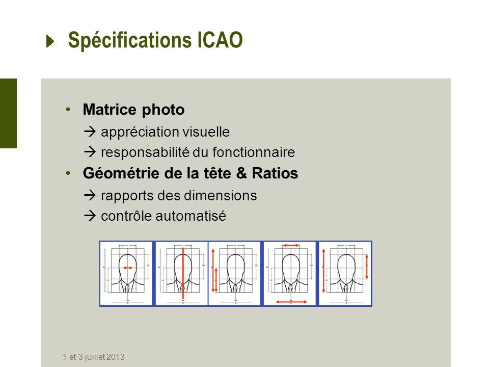 Spécifications ICAO Matrice photo appréciation visuelle responsabilité du fonctionnaire Géométrie de la tête & Ratios rapports des dimensions contrôle