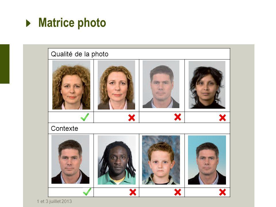 Qualité de la photo Contexte Matrice photo 1 et 3 juillet 2013