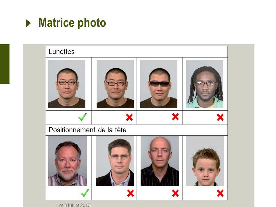Lunettes Positionnement de la tête Matrice photo 1 et 3 juillet 2013