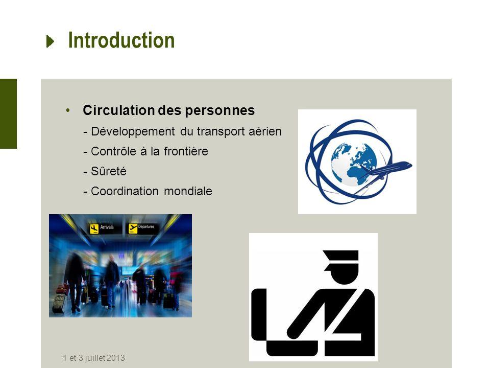 Introduction Circulation des personnes -Développement du transport aérien -Contrôle à la frontière -Sûreté -Coordination mondiale 1 et 3 juillet 2013