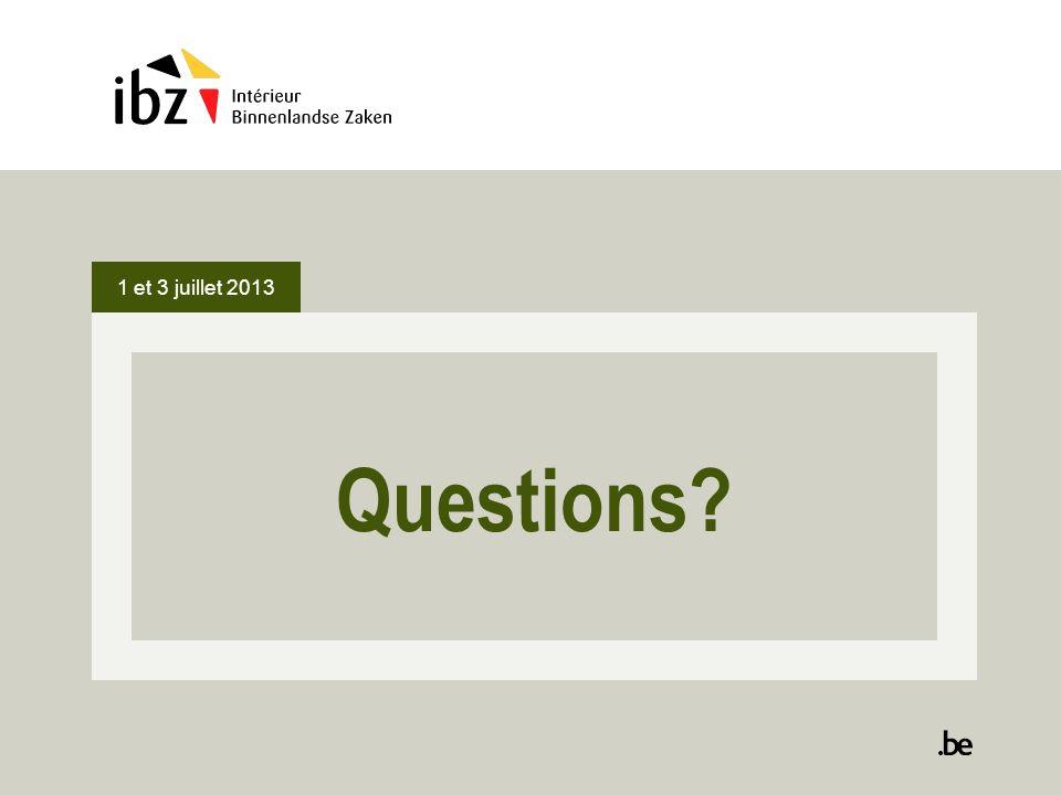Questions? 1 et 3 juillet 2013