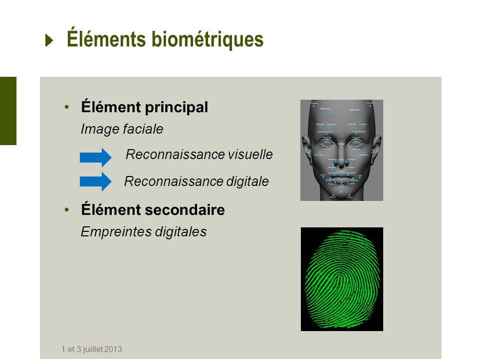 Éléments biométriques Élément principal Image faciale Élément secondaire Empreintes digitales 1 et 3 juillet 2013 Reconnaissance digitale Reconnaissan