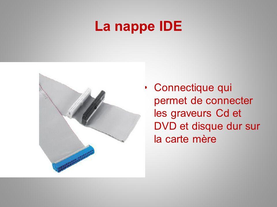 La nappe IDE Connectique qui permet de connecter les graveurs Cd et DVD et disque dur sur la carte mère