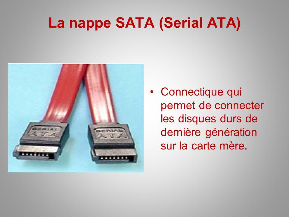 La nappe SATA (Serial ATA) Connectique qui permet de connecter les disques durs de dernière génération sur la carte mère.