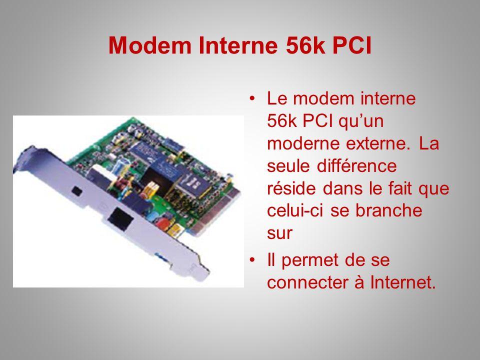 Modem Interne 56k PCI Le modem interne 56k PCI quun moderne externe. La seule différence réside dans le fait que celui-ci se branche sur Il permet de