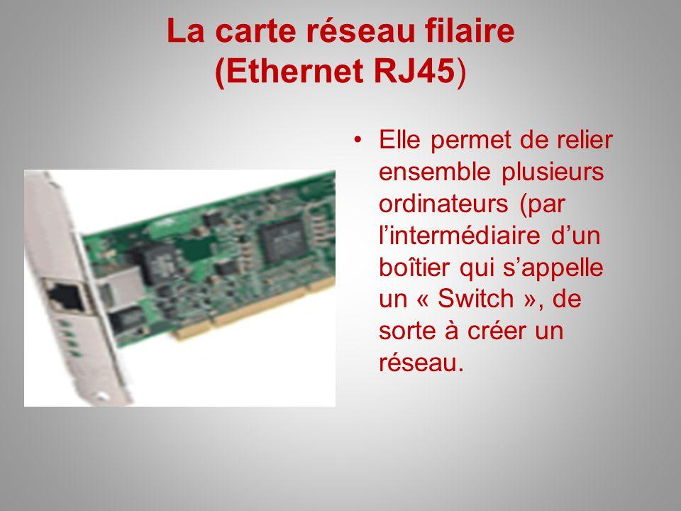 La carte réseau filaire (Ethernet RJ45) Elle permet de relier ensemble plusieurs ordinateurs (par lintermédiaire dun boîtier qui sappelle un « Switch