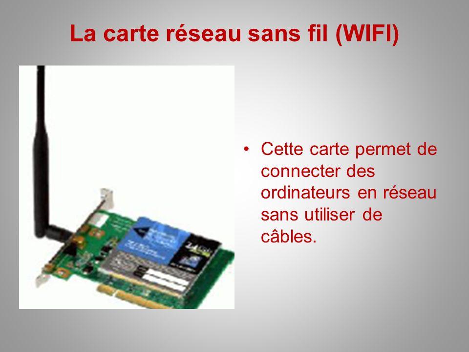 La carte réseau sans fil (WIFI) Cette carte permet de connecter des ordinateurs en réseau sans utiliser de câbles.