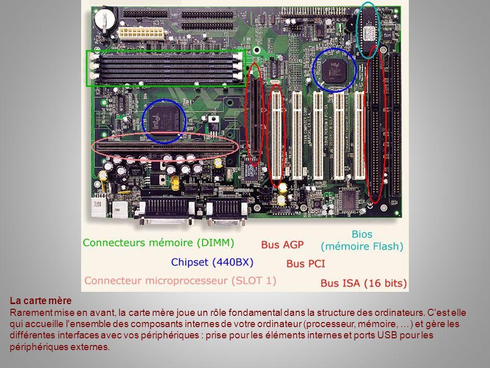 La carte mère Rarement mise en avant, la carte mère joue un rôle fondamental dans la structure des ordinateurs. C'est elle qui accueille l'ensemble de