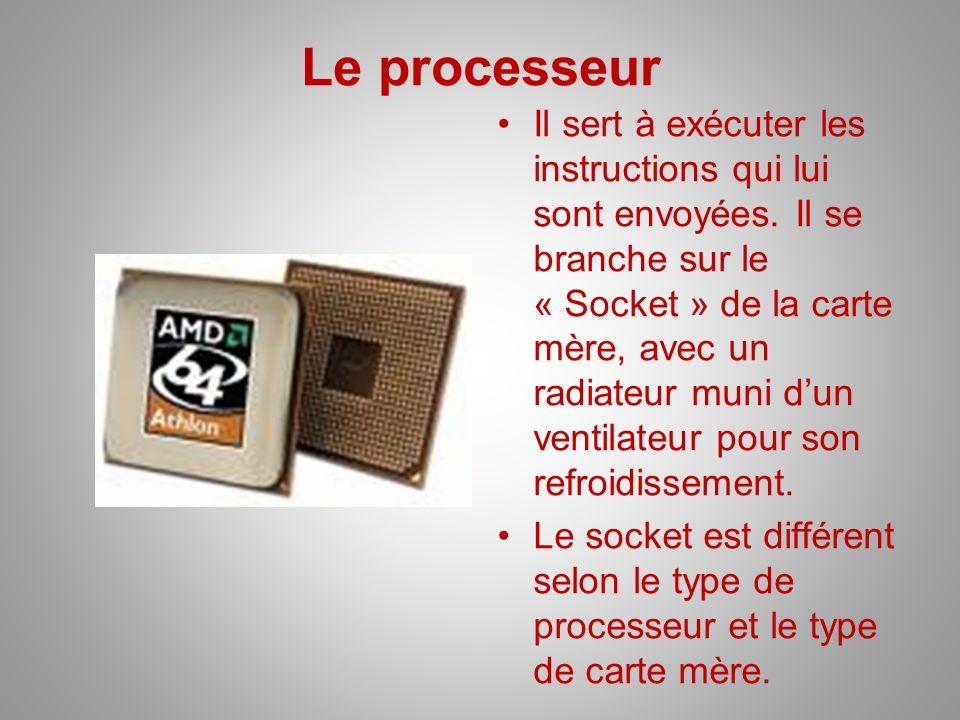 Le processeur Il sert à exécuter les instructions qui lui sont envoyées. Il se branche sur le « Socket » de la carte mère, avec un radiateur muni dun