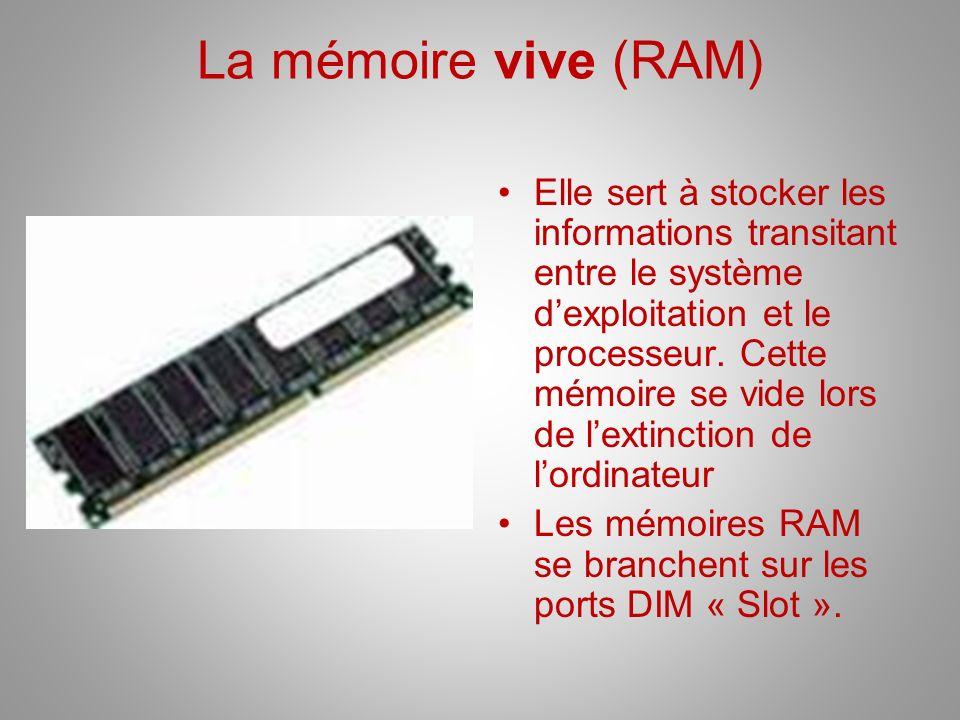 La mémoire vive (RAM) Elle sert à stocker les informations transitant entre le système dexploitation et le processeur. Cette mémoire se vide lors de l