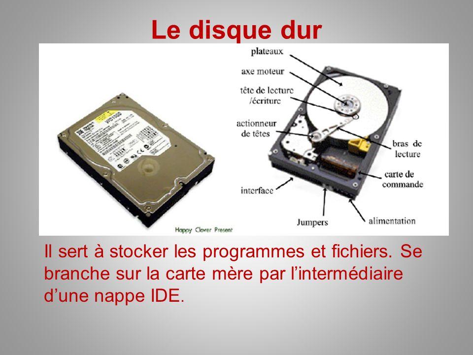Le disque dur Il sert à stocker les programmes et fichiers. Se branche sur la carte mère par lintermédiaire dune nappe IDE.