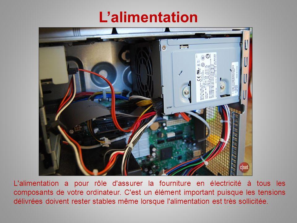 Lalimentation L'alimentation a pour rôle d'assurer la fourniture en électricité à tous les composants de votre ordinateur. C'est un élément important