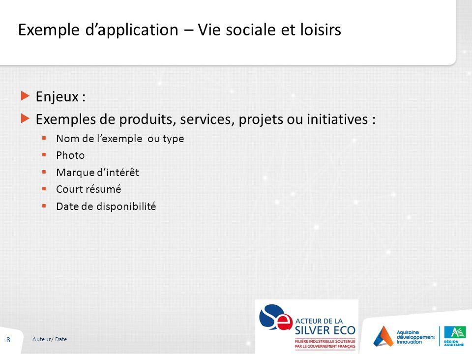 Exemple dapplication – Vie sociale et loisirs 8 Auteur/ Date Enjeux : Exemples de produits, services, projets ou initiatives : Nom de lexemple ou type