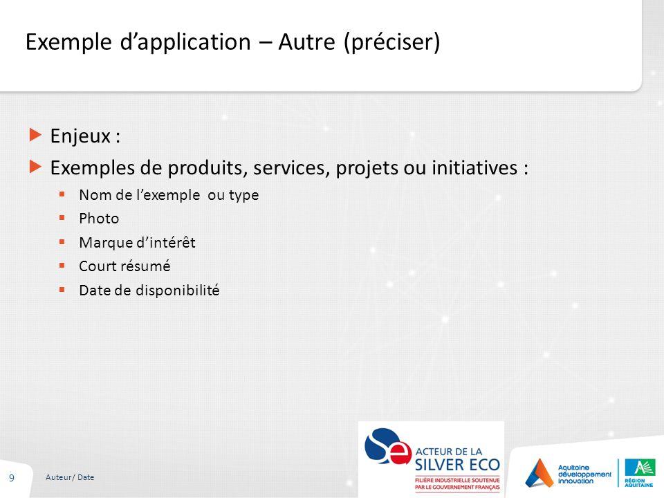 Exemple dapplication – Autre (préciser) 9 Auteur/ Date Enjeux : Exemples de produits, services, projets ou initiatives : Nom de lexemple ou type Photo