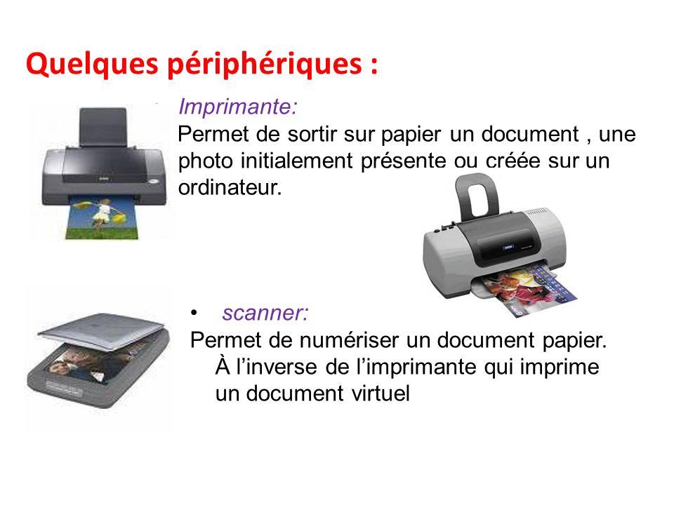 Quelques périphériques : Imprimante: Permet de sortir sur papier un document, une photo initialement présente ou créée sur un ordinateur.