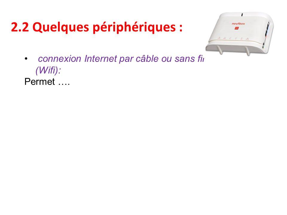 2.2 Quelques périphériques : connexion Internet par câble ou sans fil (Wifi): Permet ….