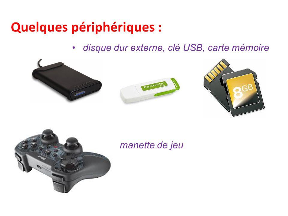 Quelques périphériques : disque dur externe, clé USB, carte mémoire manette de jeu