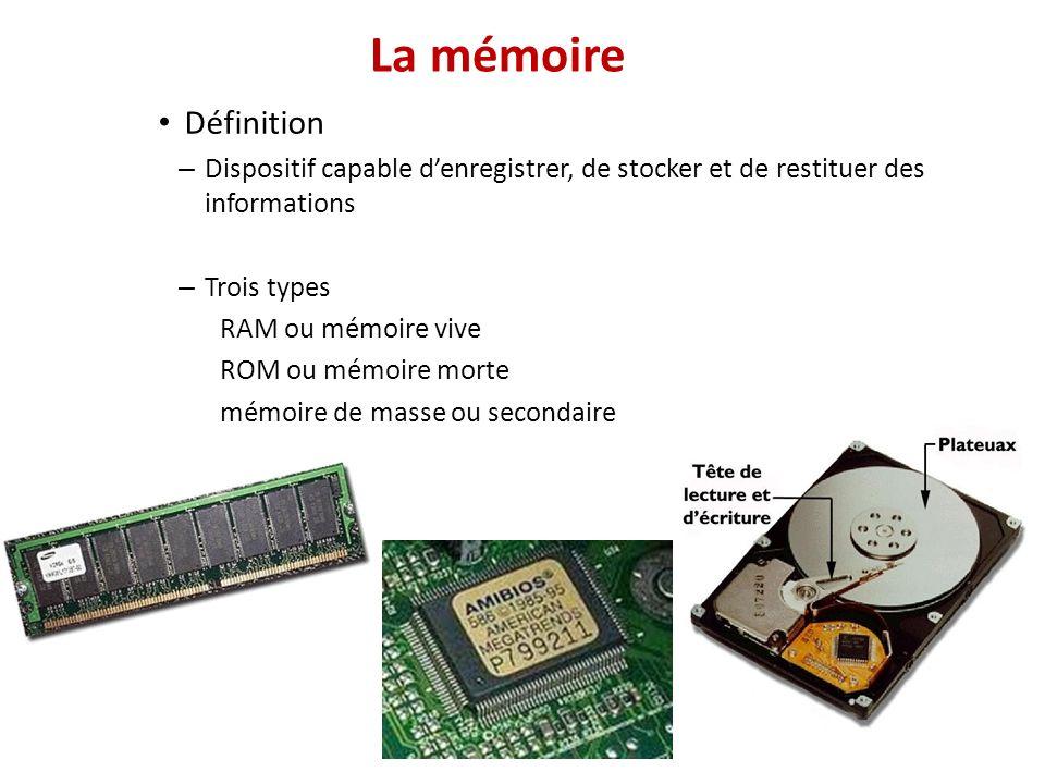 La mémoire Définition – Dispositif capable denregistrer, de stocker et de restituer des informations – Trois types RAM ou mémoire vive ROM ou mémoire morte mémoire de masse ou secondaire