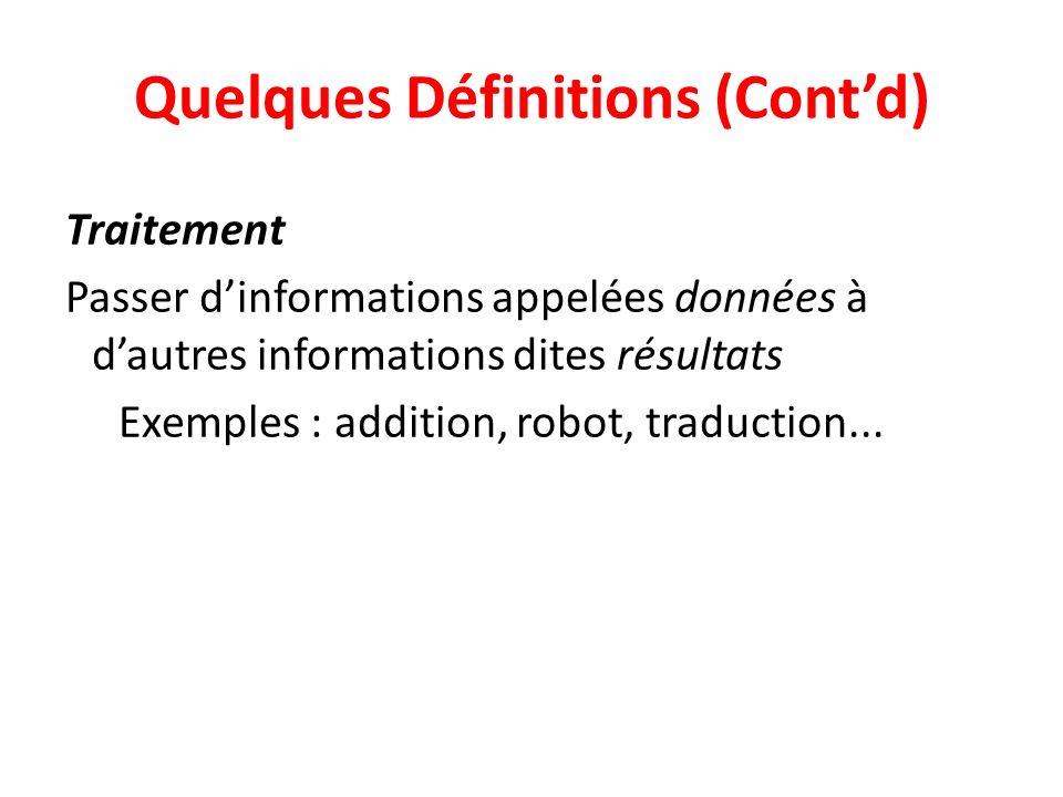 Quelques Définitions (Contd) Traitement Passer dinformations appelées données à dautres informations dites résultats Exemples : addition, robot, traduction...