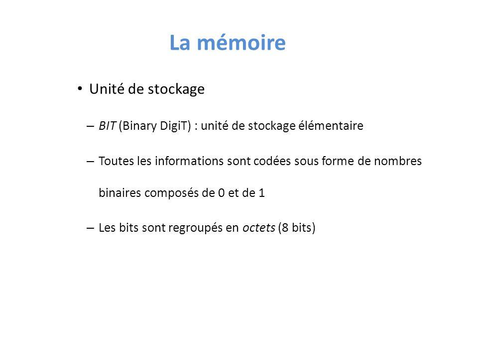 La mémoire Unité de stockage – BIT (Binary DigiT) : unité de stockage élémentaire – Toutes les informations sont codées sous forme de nombres binaires composés de 0 et de 1 – Les bits sont regroupés en octets (8 bits)