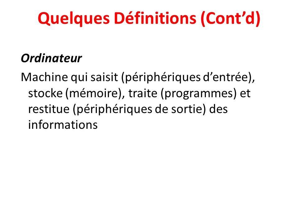 Quelques Définitions (Contd) Ordinateur Machine qui saisit (périphériques dentrée), stocke (mémoire), traite (programmes) et restitue (périphériques de sortie) des informations