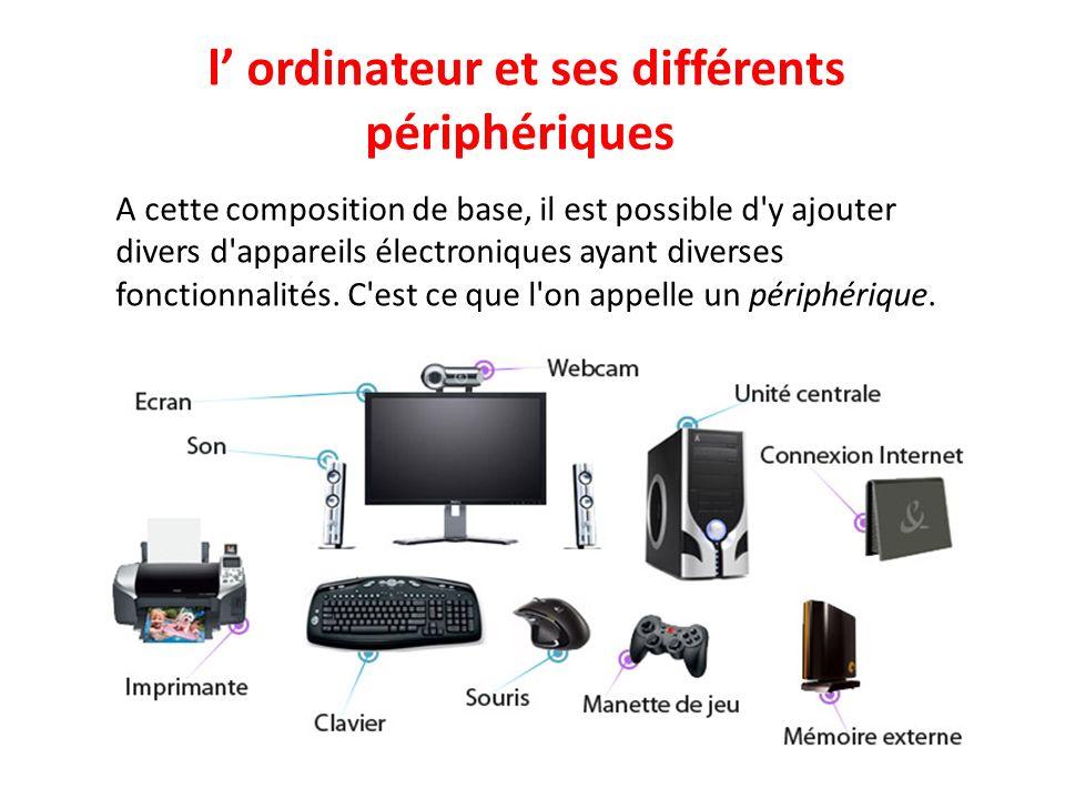l ordinateur et ses différents périphériques A cette composition de base, il est possible d y ajouter divers d appareils électroniques ayant diverses fonctionnalités.