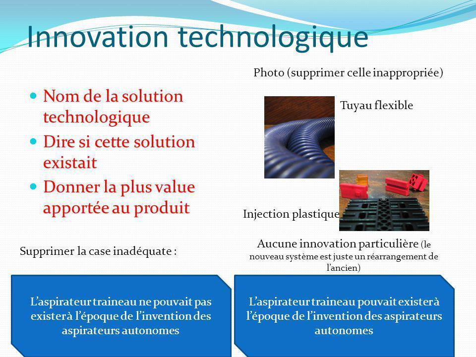 Innovation technologique Nom de la solution technologique Dire si cette solution existait Donner la plus value apportée au produit Photo (supprimer ce