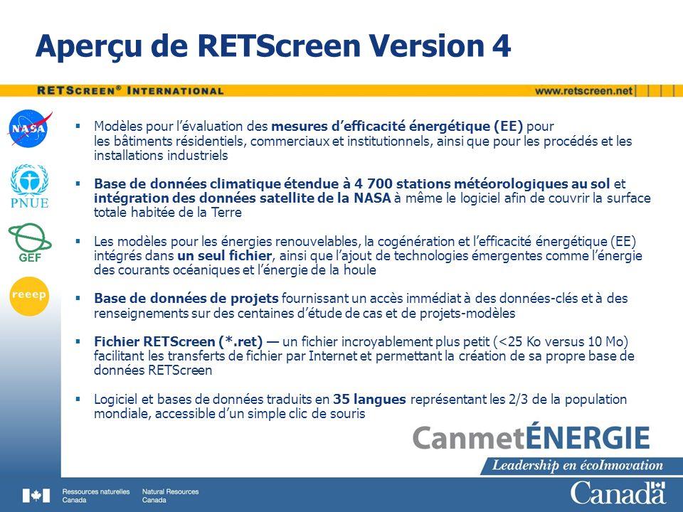 Aperçu de RETScreen Version 4 Modèles pour lévaluation des mesures defficacité énergétique (EE) pour les bâtiments résidentiels, commerciaux et institutionnels, ainsi que pour les procédés et les installations industriels Base de données climatique étendue à 4 700 stations météorologiques au sol et intégration des données satellite de la NASA à même le logiciel afin de couvrir la surface totale habitée de la Terre Les modèles pour les énergies renouvelables, la cogénération et lefficacité énergétique (EE) intégrés dans un seul fichier, ainsi que lajout de technologies émergentes comme lénergie des courants océaniques et lénergie de la houle Base de données de projets fournissant un accès immédiat à des données-clés et à des renseignements sur des centaines détude de cas et de projets-modèles Fichier RETScreen (*.ret) un fichier incroyablement plus petit (<25 Ko versus 10 Mo) facilitant les transferts de fichier par Internet et permettant la création de sa propre base de données RETScreen Logiciel et bases de données traduits en 35 langues représentant les 2/3 de la population mondiale, accessible dun simple clic de souris