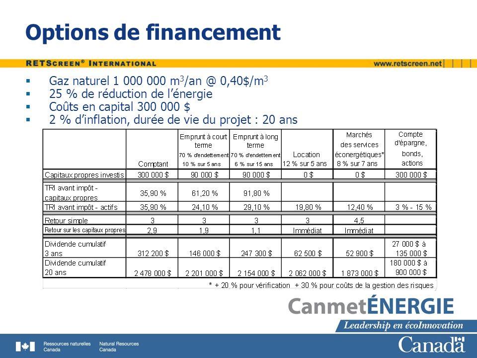 Options de financement Gaz naturel 1 000 000 m 3 /an @ 0,40$/m 3 25 % de réduction de lénergie Coûts en capital 300 000 $ 2 % dinflation, durée de vie du projet : 20 ans