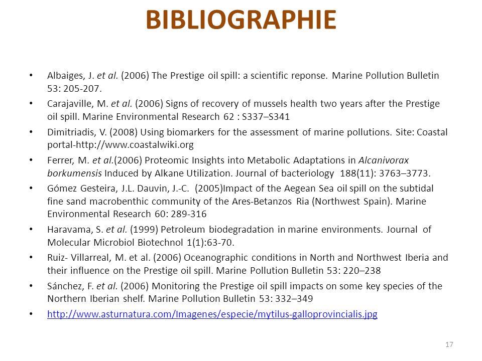 BIBLIOGRAPHIE Albaiges, J. et al. (2006) The Prestige oil spill: a scientific reponse. Marine Pollution Bulletin 53: 205-207. Carajaville, M. et al. (