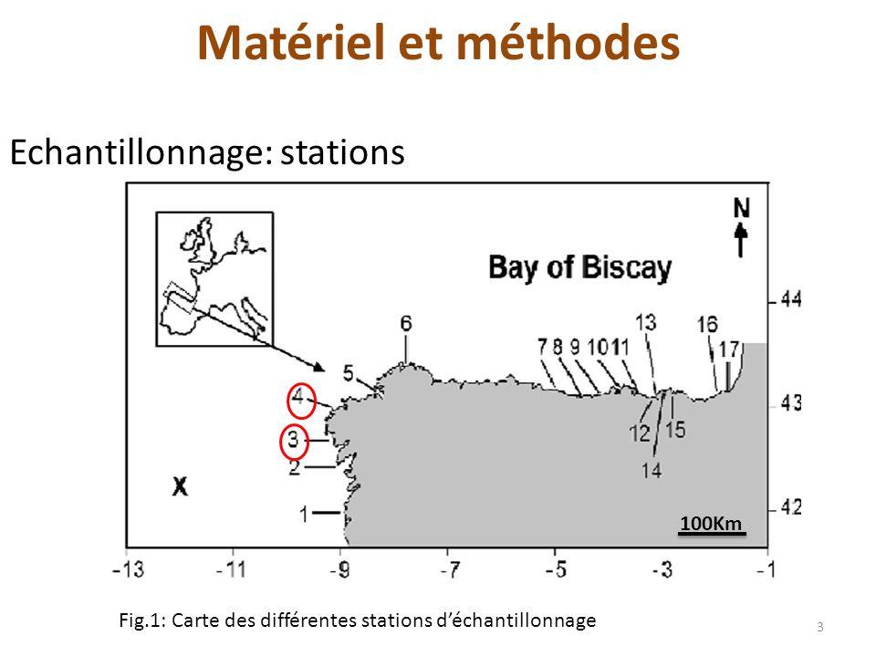 Matériel et méthodes Echantillonnage: stations 100Km 3 Fig.1: Carte des différentes stations déchantillonnage