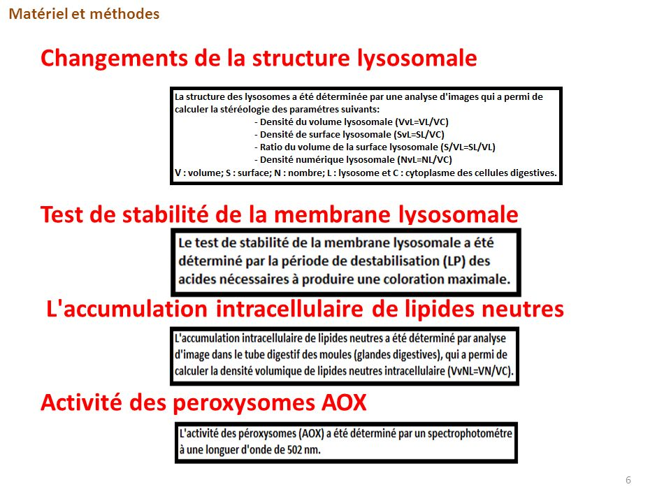 Changements de la structure lysosomale Test de stabilité de la membrane lysosomale L'accumulation intracellulaire de lipides neutres Activité des pero