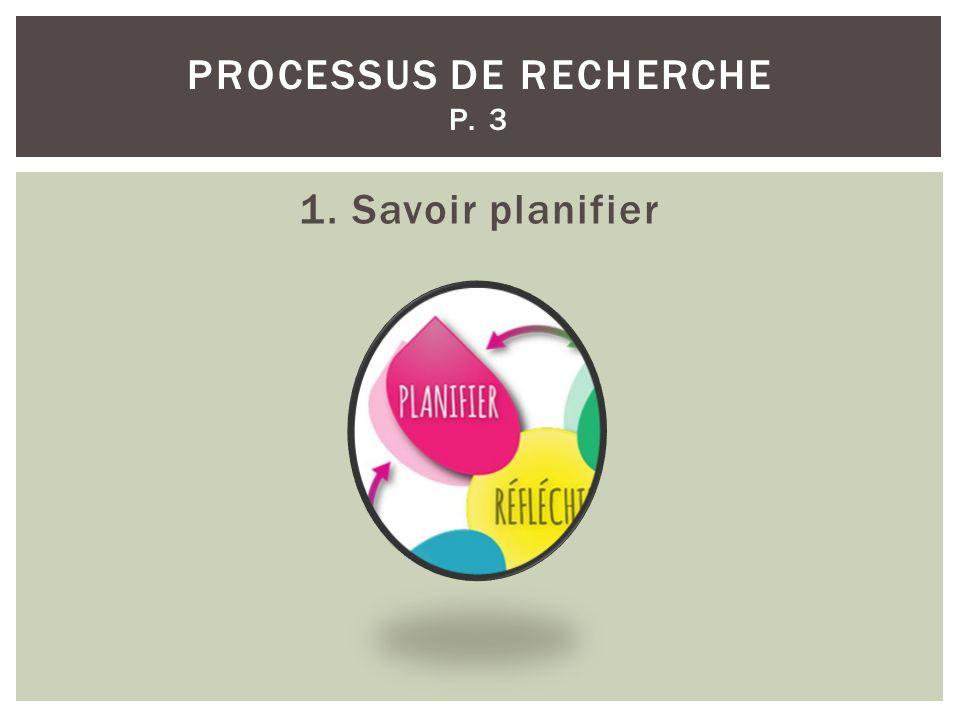 PROCESSUS DE RECHERCHE P. 3 1. Savoir planifier