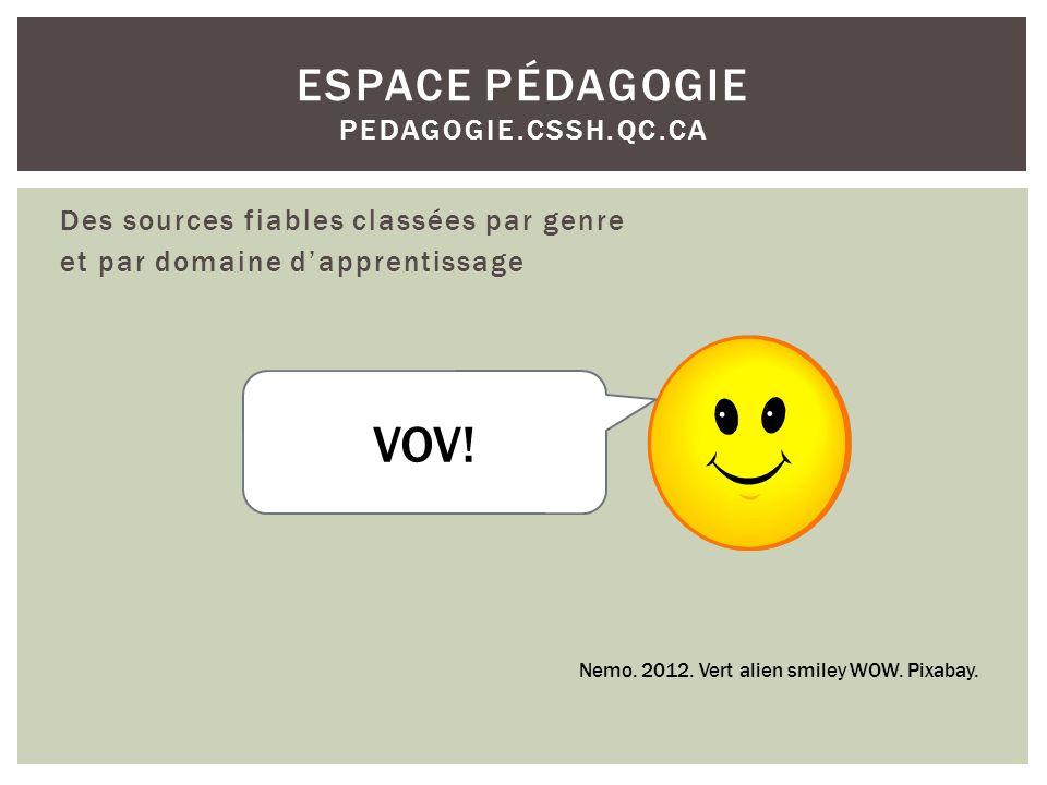 Des sources fiables classées par genre et par domaine dapprentissage ESPACE PÉDAGOGIE PEDAGOGIE.CSSH.QC.CA Nemo.