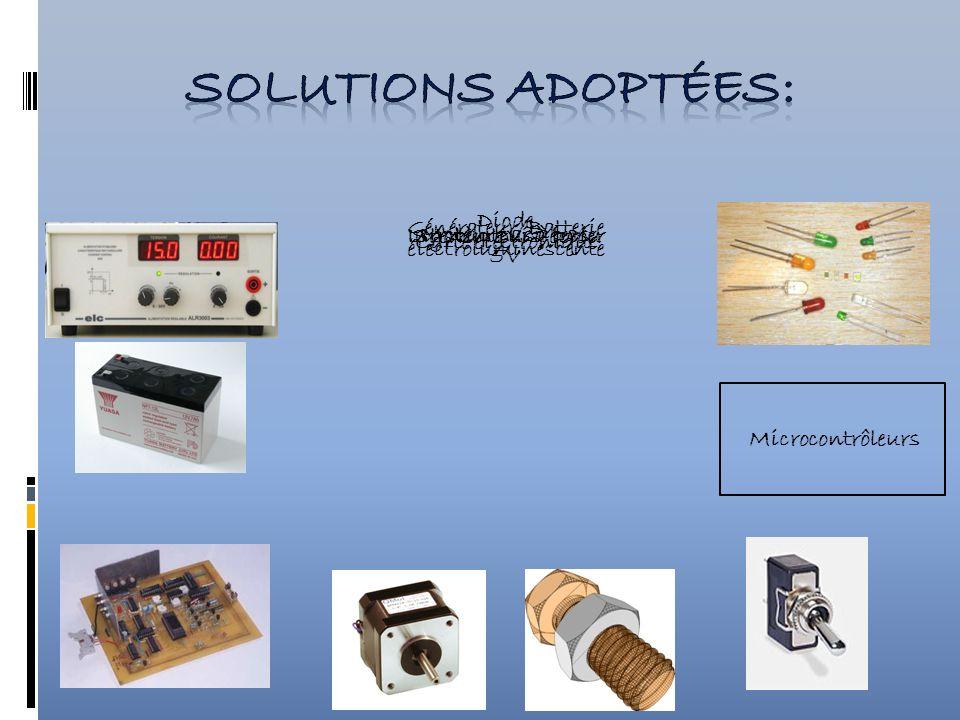 Générateur/Batterie 5V Carte électronique Moteur pas à pas Système Vis-écrouInterrupteur à levier Diode électroluminescente Microcontrôleurs