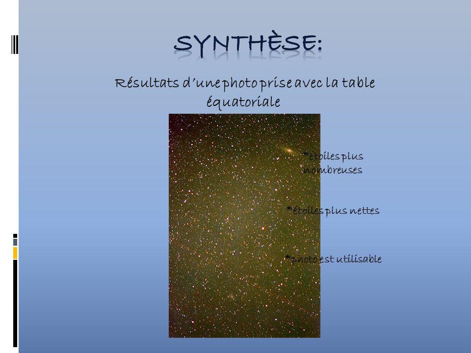 Résultats dune photo prise avec la table équatoriale *étoiles plus nombreuses *étoiles plus nettes *photo est utilisable
