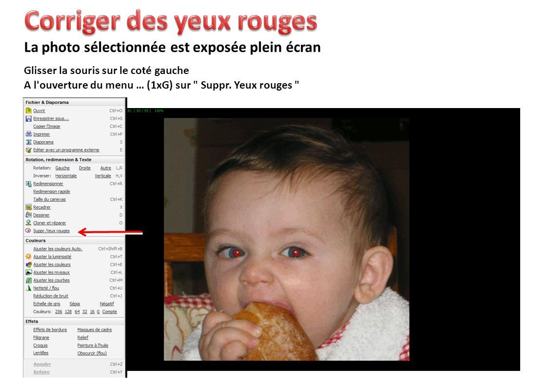 Glisser la souris sur le coté gauche La photo sélectionnée est exposée plein écran A l ouverture du menu … (1xG) sur Suppr.