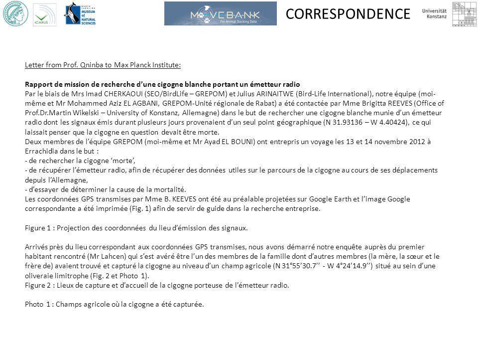 CORRESPONDENCE Letter from Prof. Qninba to Max Planck Institute: Rapport de mission de recherche dune cigogne blanche portant un émetteur radio Par le