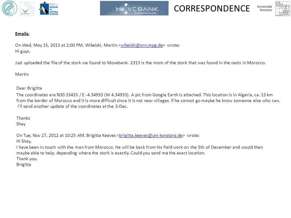 CORRESPONDENCE Emails: On Wed, May 15, 2013 at 2:00 PM, Wikelski, Martin wrote:wikelski@orn.mpg.de Hi guys, Just uploaded the file of the stork we found to Movebank.