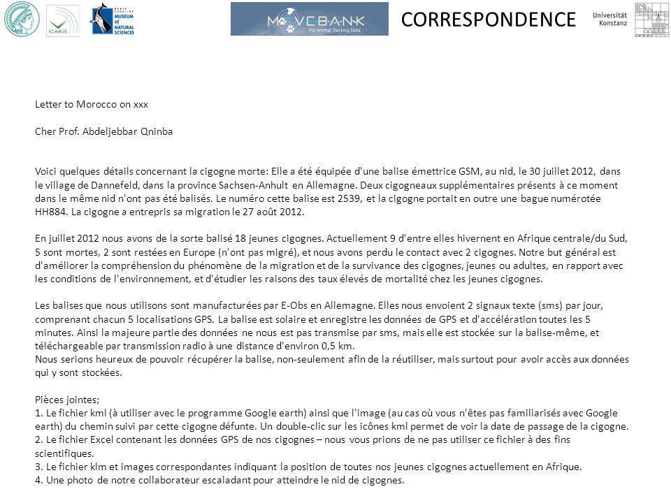 CORRESPONDENCE Letter to Morocco on xxx Cher Prof. Abdeljebbar Qninba Voici quelques détails concernant la cigogne morte: Elle a été équipée d'une bal