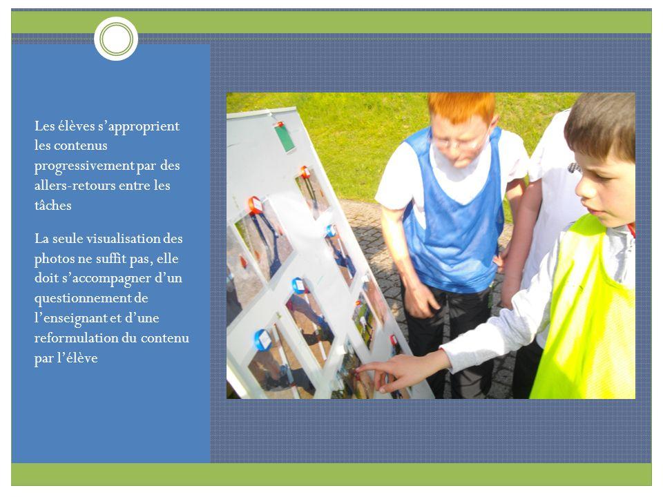 Les élèves sapproprient les contenus progressivement par des allers-retours entre les tâches La seule visualisation des photos ne suffit pas, elle doi