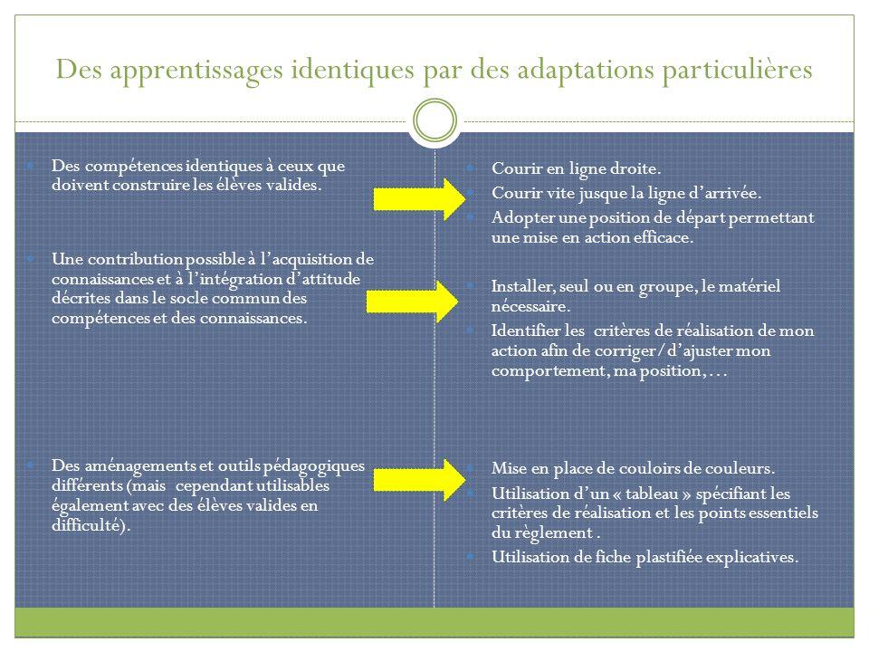 Des apprentissages identiques par des adaptations particulières Des compétences identiques à ceux que doivent construire les élèves valides. Une contr