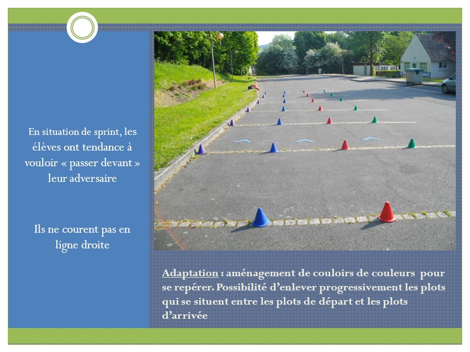 Adaptation : aménagement de couloirs de couleurs pour se repérer. Possibilité denlever progressivement les plots qui se situent entre les plots de dép
